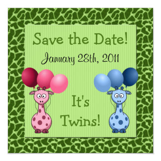 Giraffe Fraternal Twins Baby Shower Save the Date Card