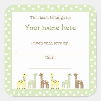 Giraffe Friends Baby Shower Book Plate Neutral Gen Sticker