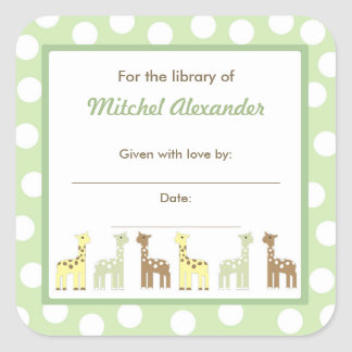 Giraffe Friends Baby Shower Bookplate book plate Square Sticker