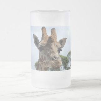 Giraffe Frosted Glass Beer Mug