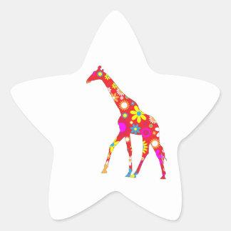 Giraffe Funky retro floral flowery flower stickers