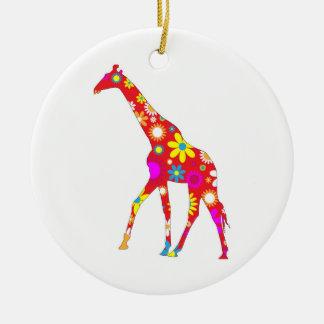 Giraffe Funky retro floral flowery fun ornament