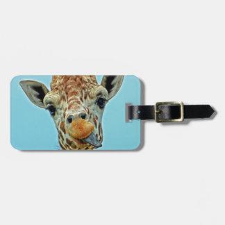giraffe funny luggage tag