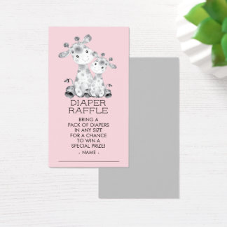 Giraffe Girls Baby Shower Diaper Raffle Ticket