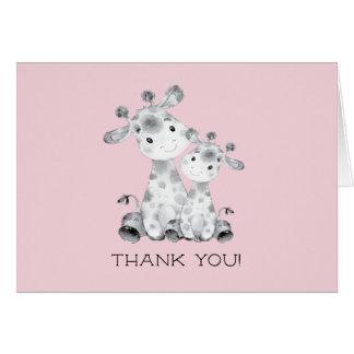 Giraffe Girls Baby Shower Thank You Note Card