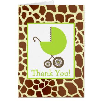 Giraffe & Green Carriage Baby Shower Thank You Card