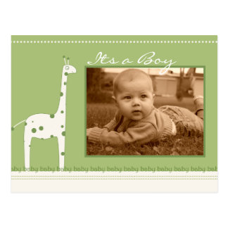 Giraffe Green Its a Boy/girl announcement Postcard