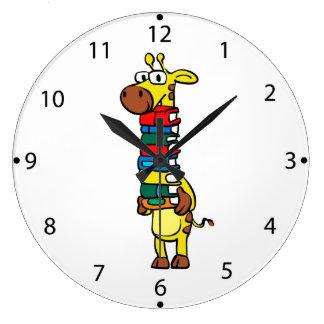 Giraffe holding books large clock