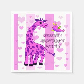 Giraffe illustration in pink color paper napkins