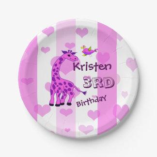 Giraffe illustration in pink color paper plate