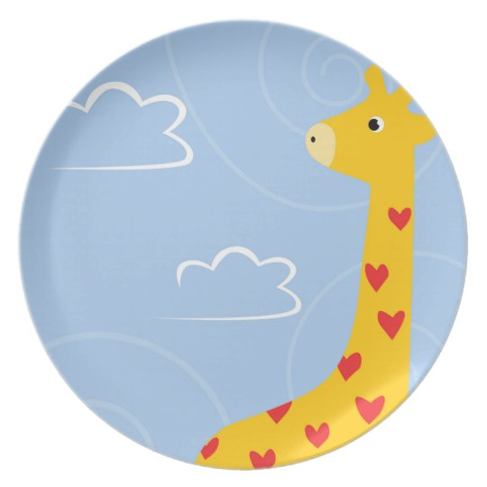 Giraffe illustration with tiny hearts for toddlers plate