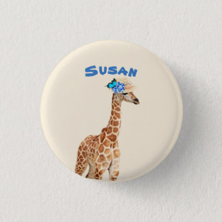 Giraffe in a Hat with Blue Butterfly Button