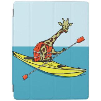 Giraffe in a kayak iPad cover