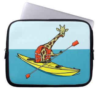 Giraffe in a kayak laptop sleeve