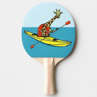 Giraffe in a kayak ping pong paddle