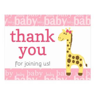 Giraffe in Pink Bow Baby Shower for Girl Thank You Postcard