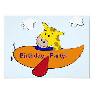 Giraffe in Plane Kids Birthday 14 Cm X 19 Cm Invitation Card