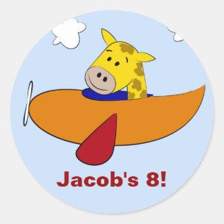 Giraffe in Plane Kids Birthday Classic Round Sticker