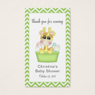 Giraffe in the Tub Baby Shower Favour Tag