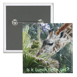 Giraffe,Is it Lunch time yet? 15 Cm Square Badge