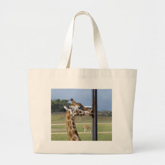 Giraffe_Kissing_Pole,_ Tote Bags