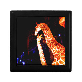Giraffe light up night photography festival art small square gift box