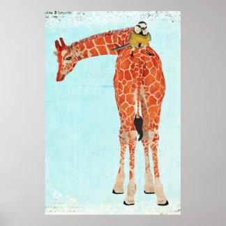 Giraffe & Little Bird Art Poster