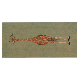Giraffe & Little Indigo Bird Wooden USB Drive Wood USB 2.0 Flash Drive