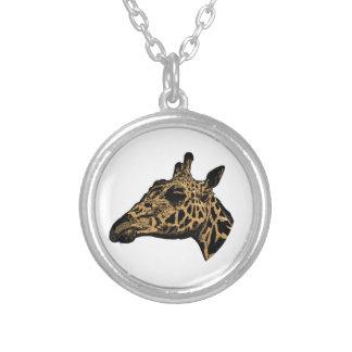 Giraffe Logo Silver Plated Necklace