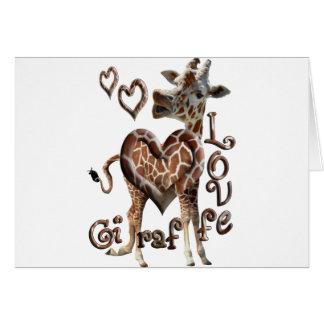 GIRAFFE LOVE BLOWING SMOKE RING HEARTS AND KISSES CARD