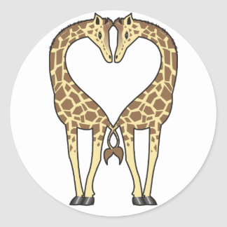 Giraffe Love Classic Round Sticker