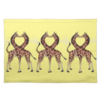Giraffe Love cloth placemat