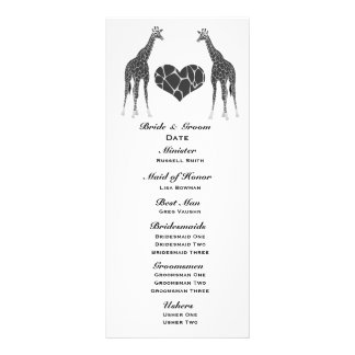 Giraffe Love Wedding Program 10 Cm X 23 Cm Rack Card