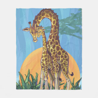 Giraffe Mama and Baby Fleece Blanket