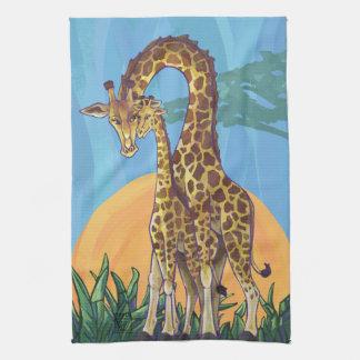 Giraffe Mama and Baby Tea Towel