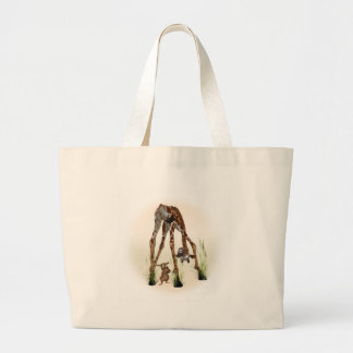 Giraffe Meets Mouse Large Tote Bag