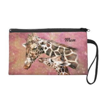 Giraffe Mom and Baby Wristlet Clutch