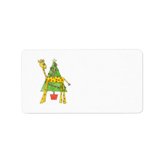 Giraffe, Monkey and Christmas Tree. Address Label