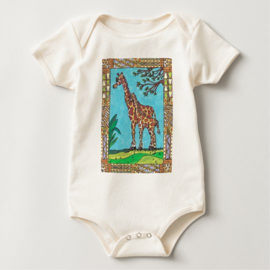 Giraffe Mum and Baby Infant Organic Creeper
