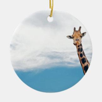 Giraffe neck and head against the clear blue sky ceramic ornament