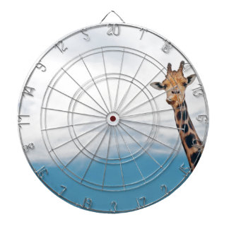 Giraffe neck and head against the clear blue sky dartboard