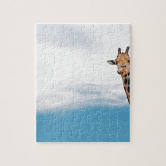 Giraffe neck and head against the clear blue sky jigsaw puzzle