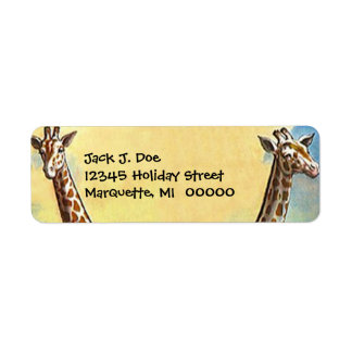 Giraffe Necks Safari Travel Return address Label
