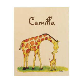 Giraffe Nursery Art - Personalise with name Wood Canvases