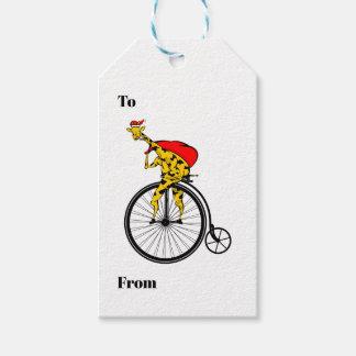 Giraffe on a bike Christmas Gift Tags