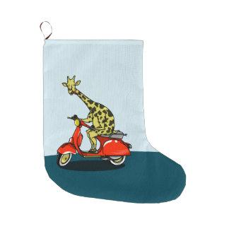 Giraffe on a retro moped