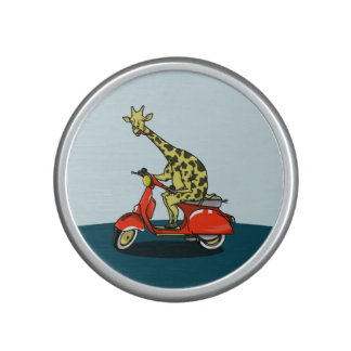 Giraffe on a retro moped bluetooth speaker
