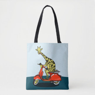 Giraffe on a retro moped tote bag