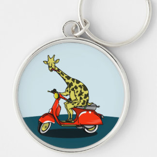 giraffe on a vintage scooter Silver-Colored round key ring