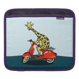 giraffe on a vintage scooter sleeves for iPads